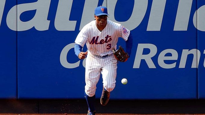 NEW YORK, NY - JULY 16: Curtis Granderson #3 of the New York Mets chases down a ball hit for a seventh inning two run inside the park home run by Charlie Blackmon of the Colorado Rockies on July 16, 2017 at Citi Field in the Flushing neighborhood of the Queens borough of New York City.