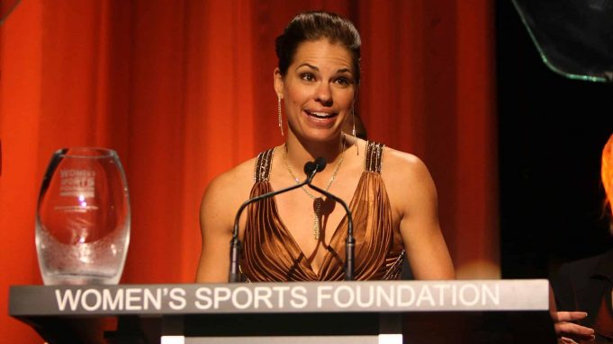 NEW YORK - OCTOBER 14: Softball player Jessica Mendoza speaks on stage during the 29th annual Salute to Women in Sports Awards presented by the Women's Sports Foundation at The Waldorf-Astoria Hotel on October 14, 2008 in New York City.