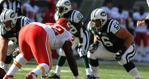 EAST RUTHERFORD, NJ - OCTOBER 26: Alan Faneca #66 of the New York Jets prepares to battle against Glenn Dorsey #72 of the Kansas City Chiefs during their game on October 26, 2008 at Giants Stadium in East Rutherford, New Jersey.