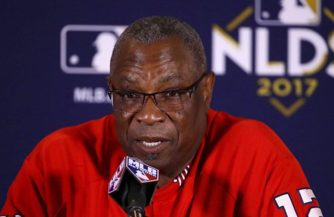 CHICAGO, IL - OCTOBER 11: Manager Dusty Baker of the Washington Nationals speaks to the media before game four of the National League Division Series against the Chicago Cubs at Wrigley Field on October 11, 2017 in Chicago, Illinois.