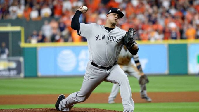 HOUSTON, TX - OCTOBER 20: Dellin Betances #68 of the New York Yankees throws a pitch against the Houston Astros during the eighth inning in Game Six of the American League Championship Series at Minute Maid Park on October 20, 2017 in Houston, Texas.