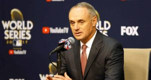 HOUSTON, TX - OCTOBER 28: Major League Baseball Commissioner Robert D. Manfred Jr. speaks to the media during a press conference prior to game four of the 2017 World Series between the Houston Astros and the Los Angeles Dodgers at Minute Maid Park on October 28, 2017 in Houston, Texas.