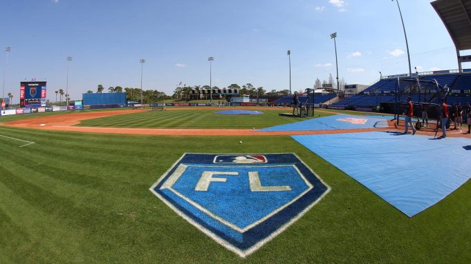 PORT ST. LUCIE, FL - MARCH 06: The Grapefruit League logo on the third base line before a spring training game between the Houston Astros and New York Mets at First Data Field on March 6, 2018 in Port St. Lucie, Florida.