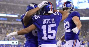 EAST RUTHERFORD, NEW JERSEY - DECEMBER 29: Golden Tate #15 of the New York Giants celebrates with his teammates after scoring a touchdown against the Philadelphia Eagles during the third quarter in the game at MetLife Stadium on December 29, 2019 in East Rutherford, New Jersey.