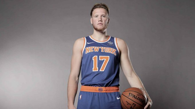 MADISON, NEW JERSEY - AUGUST 11: (EDITOR'S NOTE: SATURATIOIN WAS REMOVED FROM THIS IMAGE) Ignas Brazdeikis of the New York Knicks poses for a portrait during the 2019 NBA Rookie Photo Shoot on August 11, 2019 at the Ferguson Recreation Center in Madison, New Jersey.