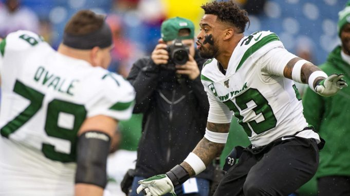 ORCHARD PARK, NY - DECEMBER 29: Jamal Adams #33 of the New York Jets dances to stadium music before the game against the Buffalo Bills at New Era Field on December 29, 2019 in Orchard Park, New York.