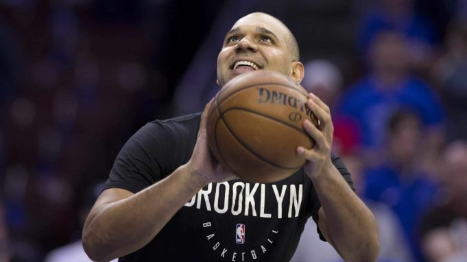 PHILADELPHIA, PA - APRIL 23: Jared Dudley #6 of the Brooklyn Nets warms prior to Game Five of Round One of the 2019 NBA Playoffs against the Philadelphia 76ers at the Wells Fargo Center on April 23, 2019 in Philadelphia, Pennsylvania. NOTE TO USER: User expressly acknowledges and agrees that, by downloading and or using this photograph, User is consenting to the terms and conditions of the Getty Images License Agreement.