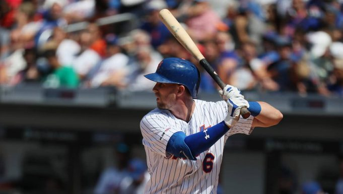 NEW YORK, NEW YORK - AUGUST 11: Jeff McNeil #6 of the New York Mets bats against the Washington Nationals during their game at Citi Field on August 11, 2019 in New York City.
