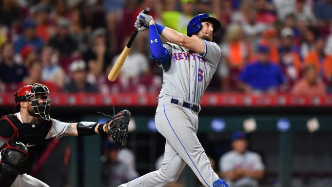 CINCINNATI, OH - SEPTEMBER 20: Jeff McNeil #6 of the New York Mets hits a home run in the sixth inning against the Cincinnati Reds at Great American Ball Park on September 20, 2019 in Cincinnati, Ohio. New York defeated Cincinnati 8-1.