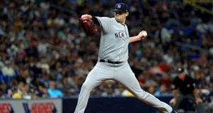 ST PETERSBURG, FLORIDA - SEPTEMBER 24: Jordan Montgomery #47 of the New York Yankees pitches during a game against the Tampa Bay Rays at Tropicana Field on September 24, 2019 in St Petersburg, Florida.