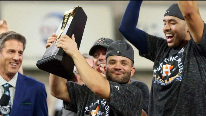 HOUSTON, TEXAS - OCTOBER 19: Jose Altuve #27 of the Houston Astros is awarded series MVP following his teams 6-4 win against the New York Yankees in game six of the American League Championship Series at Minute Maid Park on October 19, 2019 in Houston, Texas.
