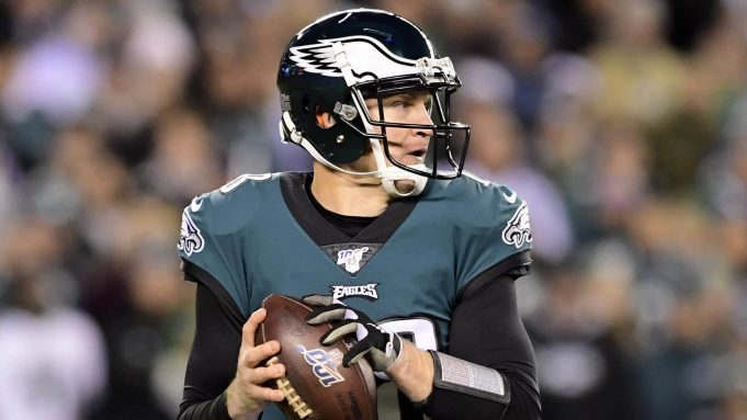 PHILADELPHIA, PENNSYLVANIA - JANUARY 05: Quarterback Josh McCown #18 of the Philadelphia Eagles drops back to pass against the defense of the Seattle Seahawks during the NFC Wild Card Playoff game at Lincoln Financial Field on January 05, 2020 in Philadelphia, Pennsylvania.
