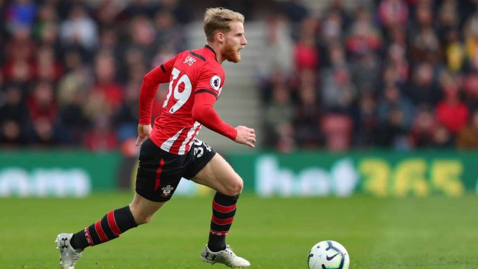 SOUTHAMPTON, ENGLAND - MARCH 09: Josh Sims of Southampton during the Premier League match between Southampton FC and Tottenham Hotspur at St Mary's Stadium on March 09, 2019 in Southampton, United Kingdom.
