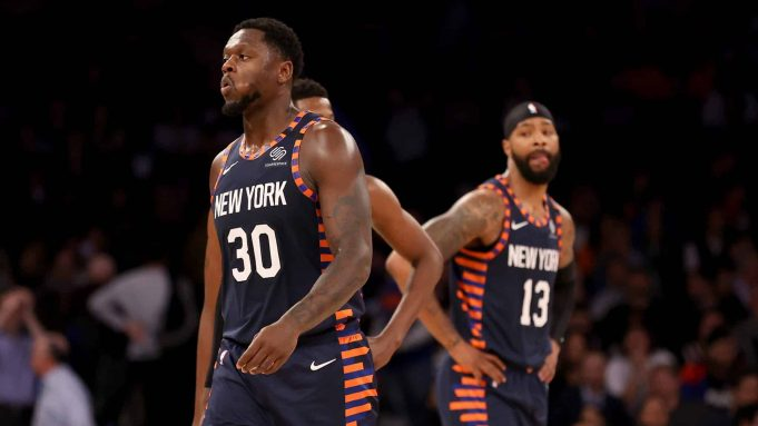 NEW YORK, NEW YORK - JANUARY 16: Julius Randle #30 and Marcus Morris Sr. #13 of the New York Knicks react late in the game against the Phoenix Suns at Madison Square Garden on January 16, 2020 in New York City.The Phoenix Suns defeated the New York Knicks 121-98.NOTE TO USER: User expressly acknowledges and agrees that, by downloading and or using this photograph, User is consenting to the terms and conditions of the Getty Images License Agreement.