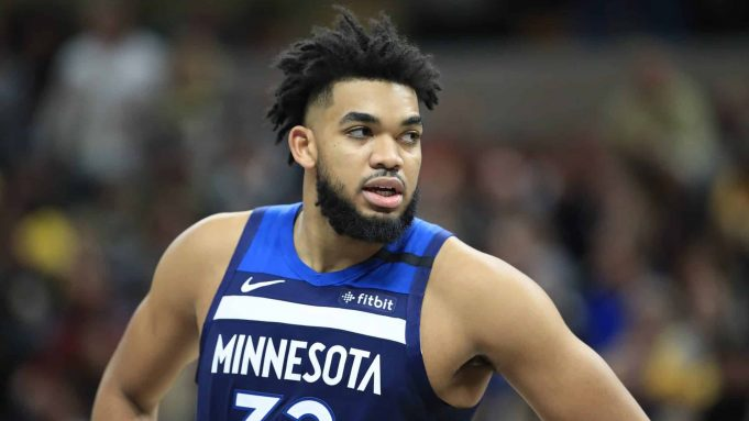 INDIANAPOLIS, INDIANA - JANUARY 17: Karl Anthony-Towns #32 of the Minnesota Timberwolves against the Indiana Pacers at Bankers Life Fieldhouse on January 17, 2020 in Indianapolis, Indiana. NOTE TO USER: User expressly acknowledges and agrees that, by downloading and or using this photograph, User is consenting to the terms and conditions of the Getty Images License Agreement.