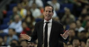 SHANGHAI, CHINA - OCTOBER 10: Head Coach Kenny Atkinson of the Brooklyn Nets looks on during a preseason game as part of 2019 NBA Global Games China at Mercedes-Benz Arena on October 10, 2019 in Shanghai, China.