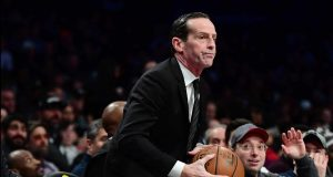 NEW YORK, NEW YORK - DECEMBER 11: Brooklyn Nets head coach Kenny Atkinson reacts as a ball falls in his lap during their game against the Charlotte Hornets at Barclays Center on December 11, 2019 in New York City. NOTE TO USER: User expressly acknowledges and agrees that, by downloading and or using this photograph, User is consenting to the terms and conditions of the Getty Images License Agreement.