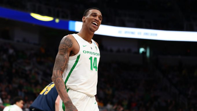 SAN JOSE, CALIFORNIA - MARCH 24: Kenny Wooten #14 of the Oregon Ducks celebrates late in the second half against the UC Irvine Anteaters during the second round of the 2019 NCAA Men's Basketball Tournament at SAP Center on March 24, 2019 in San Jose, California.