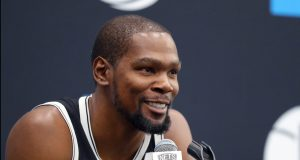 NEW YORK, NEW YORK - SEPTEMBER 27: Kevin Durant #7 of the Brooklyn Nets speaks to media during Brooklyn Nets Media Day at HSS Training Center on September 27, 2019 in the Brooklyn Borough of New York City. NOTE TO USER: User expressly acknowledges and agrees that, by downloading and or using this photograph, User is consenting to the terms and conditions of the Getty Images License Agreement.