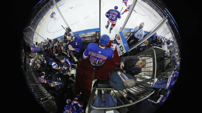 NEW YORK, NEW YORK - DECEMBER 16: Lias Andersson #50 of the New York Rangers skates out for warm-ups prior to the game against the Vegas Golden Knights at Madison Square Garden on December 16, 2018 in New York City.