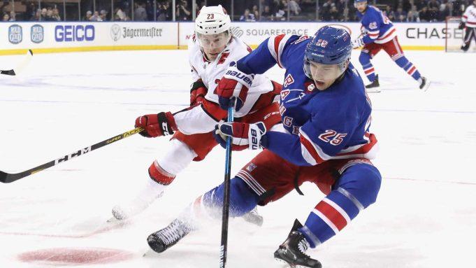 NEW YORK, NEW YORK - NOVEMBER 27: Libor Hajek #25 of the New York Rangers skates against the Carolina Hurricanes at Madison Square Garden on November 27, 2019 in New York City. The Rangers defeated the Hurricanes 3-2.