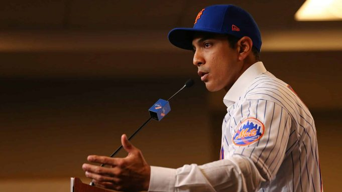 NEW YORK, NY - JANUARY 24: Luis Rojas speaks after being introduced as the new manager of the New York Mets at Citi Field on January 24, 2020 in New York City. Rojas had been the Mets quality control coach and was tapped as a replacement after the newly hired Carlos Beltrán was implicated for his role as a player in 2017 in the Houston Astros sign-stealing scandal.