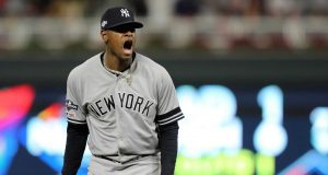 MINNEAPOLIS, MINNESOTA - OCTOBER 07: Luis Severino #40 of the New York Yankees reacts after striking out Jake Cave #60 of the Minnesota Twins with the bases loaded in the second inning of game three of the American League Division Series at Target Field on October 07, 2019 in Minneapolis, Minnesota.