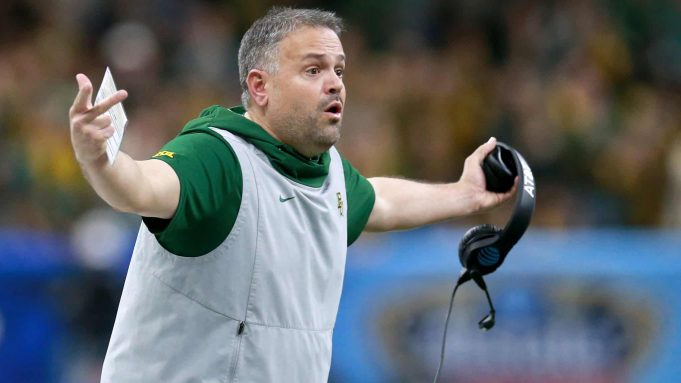 NEW ORLEANS, LOUISIANA - JANUARY 01: Head coach Matt Rhule of the Baylor Bears looks on during the Allstate Sugar Bowl against the Georgia Bulldogs at Mercedes Benz Superdome on January 01, 2020 in New Orleans, Louisiana.