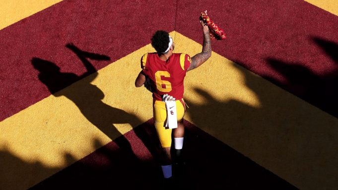 LOS ANGELES, CALIFORNIA - NOVEMBER 23: Michael Pittman Jr. #6 of the USC Trojans runs onto the field prior to a game against the UCLA Bruins at Los Angeles Memorial Coliseum on November 23, 2019 in Los Angeles, California.