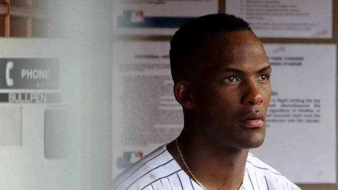 NEW YORK, NY - AUGUST 01: Miguel Andujar #41 of the New York Yankees looks on from the dugout in the ninth inning against the Baltimore Orioles at Yankee Stadium on August 1, 2018 in the Bronx borough of New York City.