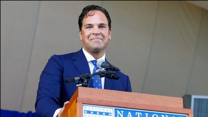 COOPERSTOWN, NY - JULY 24: Mike Piazza gives his induction speech at Clark Sports Center during the Baseball Hall of Fame induction ceremony on July 24, 2016 in Cooperstown, New York.