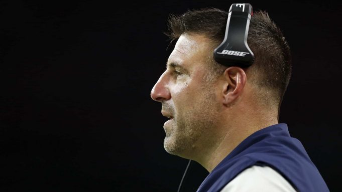 HOUSTON, TX - DECEMBER 29: Head coach Mike Vrabel of the Tennessee Titans reacts in the second half against the Houston Texans at NRG Stadium on December 29, 2019 in Houston, Texas.