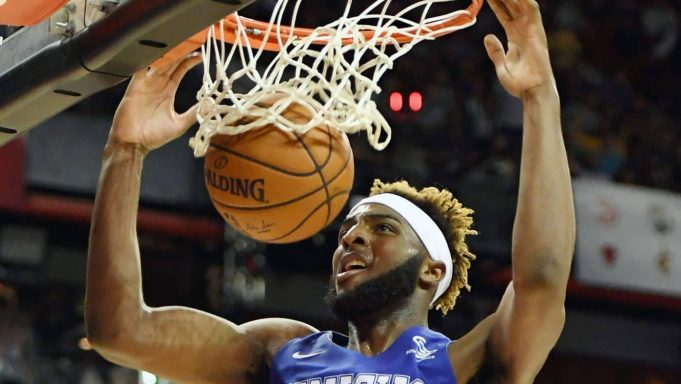 LAS VEGAS, NEVADA - JULY 05: Mitchell Robinson #23 of the New York Knicks dunks against the New Orleans Pelicans during the 2019 NBA Summer League at the Thomas & Mack Center on July 5, 2019 in Las Vegas, Nevada. NOTE TO USER: User expressly acknowledges and agrees that, by downloading and or using this photograph, User is consenting to the terms and conditions of the Getty Images License Agreement.