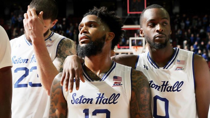 NEWARK, NEW JERSEY - NOVEMBER 14: Sandro Mamukelashvili #23,Myles Powell #13 and Quincy McKnight #0 of the Seton Hall Pirates react to the loss to the Michigan State Spartans at Prudential Center on November 14, 2019 in Newark, New Jersey.The Michigan State Spartans defeated the Seton Hall Pirates 76-73.