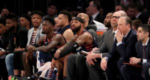 NEW YORK, NEW YORK - JANUARY 16: The New York Knicks bench reacts to the loss to the Phoenix Suns at Madison Square Garden on January 16, 2020 in New York City.The Phoenix Suns defeated the New York Knicks 121-98.NOTE TO USER: User expressly acknowledges and agrees that, by downloading and or using this photograph, User is consenting to the terms and conditions of the Getty Images License Agreement.