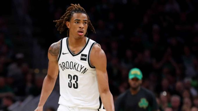 BOSTON, MASSACHUSETTS - NOVEMBER 27: Nicolas Claxton #33 of the Brooklyn Nets dribbles down court during the second half of the game against the Boston Celtics at TD Garden on November 27, 2019 in Boston, Massachusetts. The Celtics defeat the Nets 121-110.