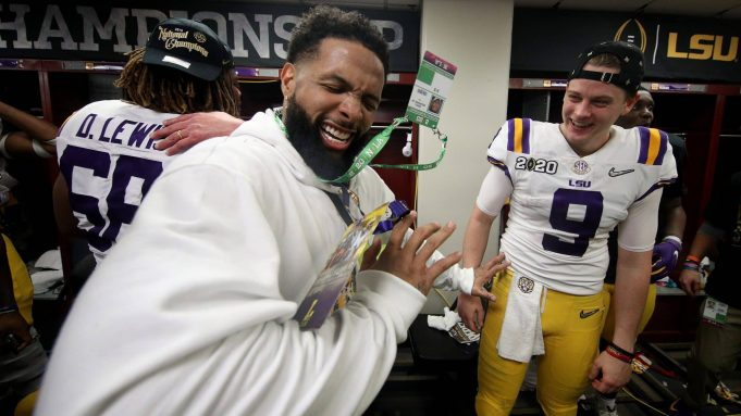 NEW ORLEANS, LOUISIANA - JANUARY 13: Odell Beckham Jr. celebrates in the locker room with Joe Burrow #9 of the LSU Tigers after their 42-25 win over Clemson Tigers in the College Football Playoff National Championship game at Mercedes Benz Superdome on January 13, 2020 in New Orleans, Louisiana.