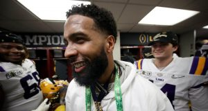 NEW ORLEANS, LOUISIANA - JANUARY 13: Odell Beckham Jr. celebrates in the locker room the LSU Tigers after their 42-25 win over Clemson Tigers in the College Football Playoff National Championship game at Mercedes Benz Superdome on January 13, 2020 in New Orleans, Louisiana.