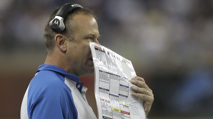 DETROIT - SEPTEMBER 02: Detroit Lions offensive coordinator Scott Linehan calls the plays during the fourth quarter of the preseason game at Ford Field on September 2, 2010 in Detroit, Michigan. The Lions defeated the Bills 28-23.