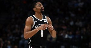DALLAS, TEXAS - JANUARY 02: Spencer Dinwiddie #8 of the Brooklyn Nets at American Airlines Center on January 02, 2020 in Dallas, Texas. NOTE TO USER: User expressly acknowledges and agrees that, by downloading and or using this photograph, User is consenting to the terms and conditions of the Getty Images License Agreement.