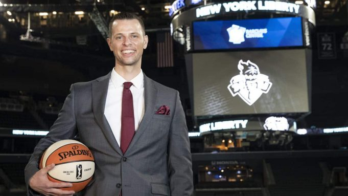 Walt Hopkins is introduced as the new coach of the WNBA's Liberty.