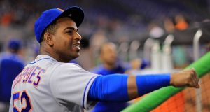 MIAMI, FL - JUNE 29: Yoenis Cespedes #52 of the New York Mets looks on during a game against the Miami Marlins at Marlins Park on June 29, 2017 in Miami, Florida.