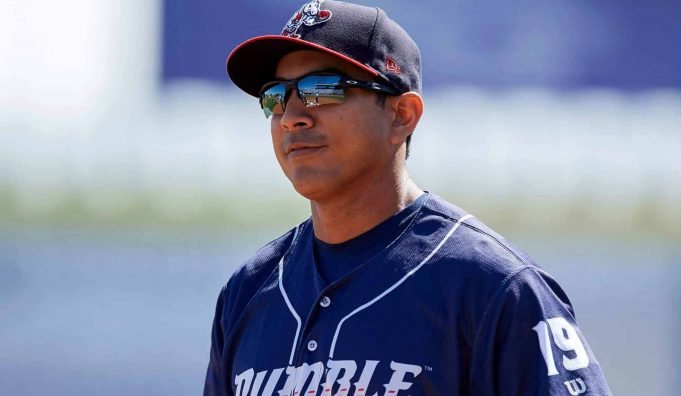 New York Mets quality control coach Luis Rojas when he was manager of the Binghamton Rumble Ponies