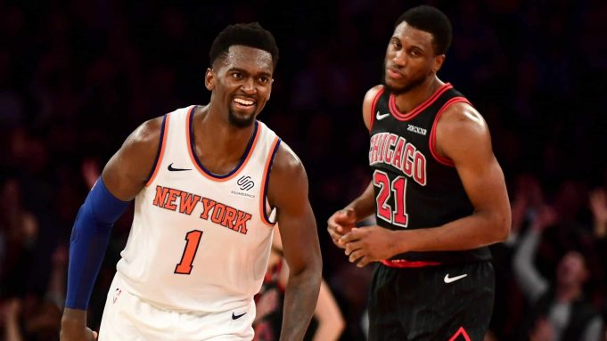 NEW YORK, NEW YORK - OCTOBER 28: Bobby Portis #1 of the New York Knicks reacts during second-half action against the Chicago Bulls at Madison Square Garden on October 28, 2019 in New York City. The Knicks won 105-98. NOTE TO USER: User expressly acknowledges and agrees that, by downloading and or using this Photograph, user is consenting to the terms and conditions of the Getty Images License Agreement.