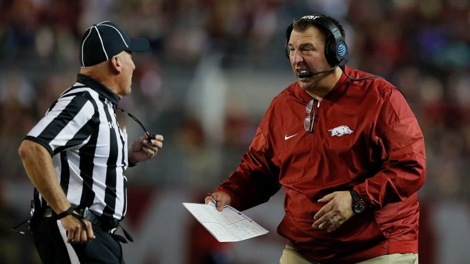 TUSCALOOSA, AL - OCTOBER 14: Head coach Bret Bielema of the Arkansas Razorbacks questions an official during the game against the Alabama Crimson Tide at Bryant-Denny Stadium on October 14, 2017 in Tuscaloosa, Alabama.