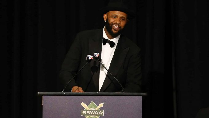 NEW YORK, NEW YORK - JANUARY 25: CC Sabathia of the New York Yankees speaks after receiving the William J. Slocum-Jack Lang Award for Long and Meritorious Service during the 97th annual New York Baseball Writers' Dinner on January 25, 2020 Sheraton New York in New York City.