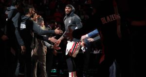 PORTLAND, OREGON - FEBRUARY 09: Carmelo Anthony #00 of the Portland Trail Blazers is introduced to the starting lineup prior to taking on the Miami Heat during their game at Moda Center on February 09, 2020 in Portland, Oregon. NOTE TO USER: User expressly acknowledges and agrees that, by downloading and or using this photograph, User is consenting to the terms and conditions of the Getty Images License Agreement.