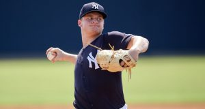New York Yankees pitcher Clarke Schmidt (6) throws living batting practice during Minor League Extended Spring Training on June 5, 2018 at the Yankees Minor League Complex in Tampa, Florida.