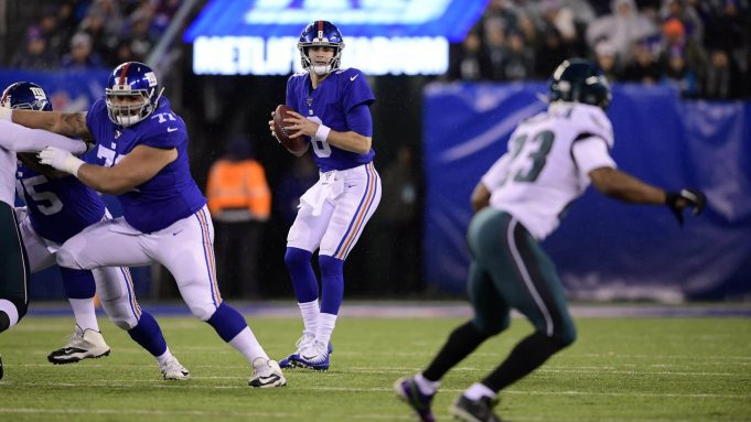 EAST RUTHERFORD, NEW JERSEY - DECEMBER 29: Daniel Jones #8 of the New York Giants looks to throw a pass against the Philadelphia Eagles during the first quarter in the game at MetLife Stadium on December 29, 2019 in East Rutherford, New Jersey.