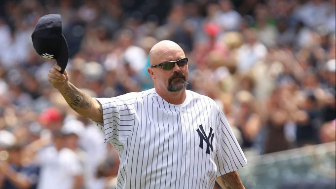 NEW YORK, NY - JUNE 26: David Wells is introduced during The New York Yankees 65th Old Timers Day game on June 26, 2011 at Yankee Stadium in the Bronx borough of New York City.